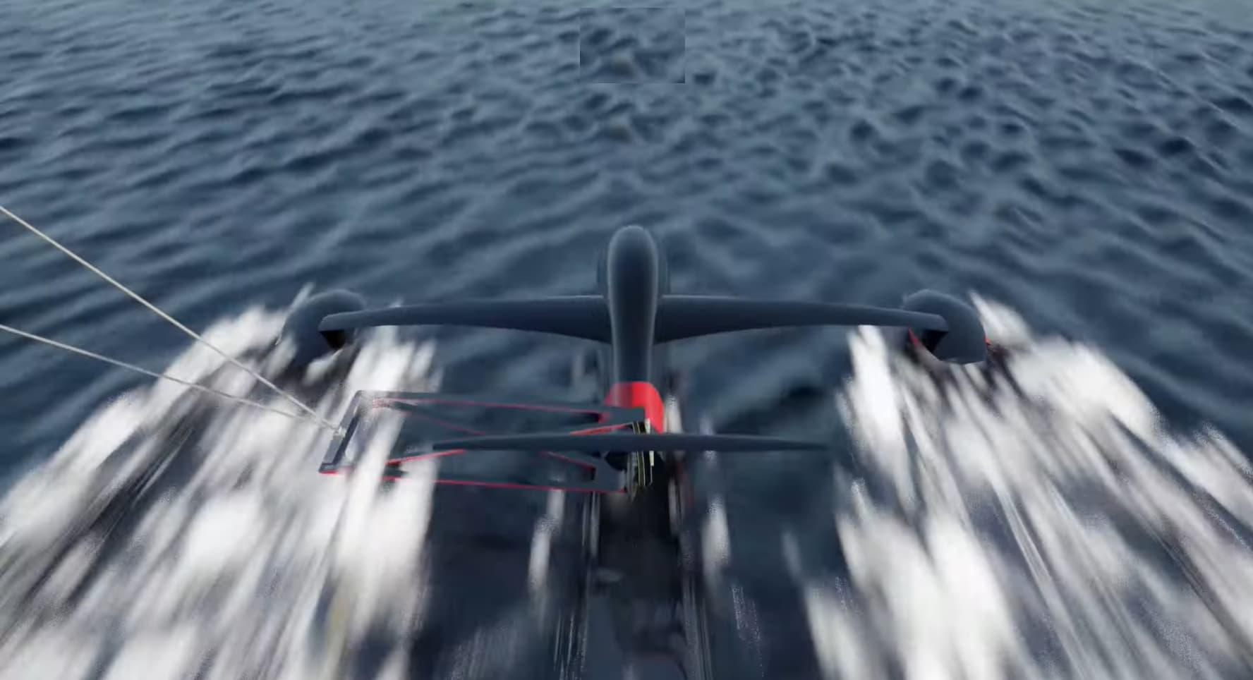 Hydrofoil con el Récord mundial de velocidad con vela